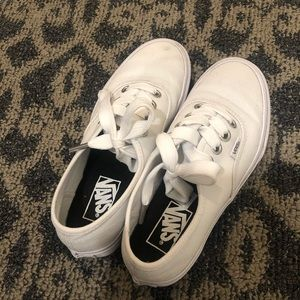 Wide-Laced White Vans